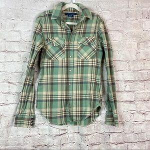 Ralph Lauren Shirt Plaid Green Flannel